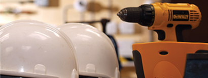 Hard hats and electric hand drill